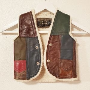 Genuine Leather Patched Vest Kid Size S/M